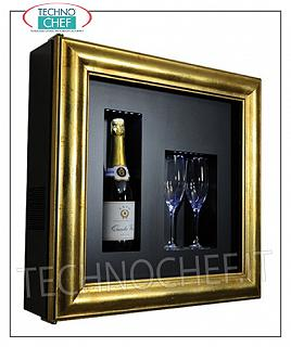 Wine pictures EXHIBITOR FRAMEWORK, NEUTRAL REFRIGERATED, for 1 bottle and 2 glasses, version with PATENTED GOLD FRAME, BLACK LAMINATE bottom, NATURAL WHITE or BLUE LED illuminated, dim.mm. 600x155x600h