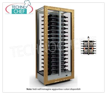 TECA for WINES with FRAME IN WOOD in standard colors, capacity 120 bottles DIAGRAM A TECA for WINES with FRAME IN WOOD in standard colors, with GLASSES ON ALL SIDES, cap. doors on the 2 fronts, V.230 / 1, Kw.0,424, Weight 120 Kg, dim.mm.860x520x1890h