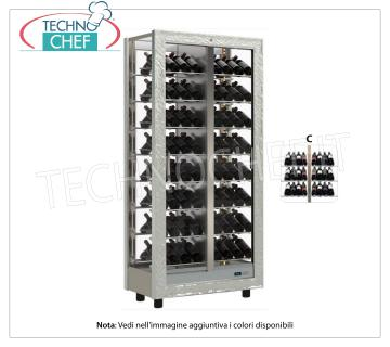 TECA for WINES with FRAME IN WOOD in standard colors, capacity 112 bottles DIAGRAM C TECA for WINES with FRAME IN WOOD in standard colors, with GLASSES ON ALL SIDES, cap. doors on the 2 fronts, V.230 / 1, Kw.0,424, Weight 120 Kg, dim.mm.860x520x1890h