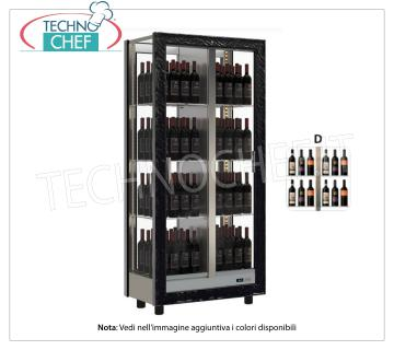 TECA for WINES with FRAME IN WOOD in standard colors, capacity 128 bottles DIAGRAM D, TECA for WINES with FRAME IN WOOD in standard colors, with GLASSES ON ALL SIDES, cap.128 bottles DIAGRAM D, STATIC or VENTILATED cold, temp. + 6 ° / + 18 ° C, for WHITE or RED WINES, doors on the 2 fronts, V.230 / 1, Kw.0,424, Weight 130 Kg, dim.mm.860x520x1890h