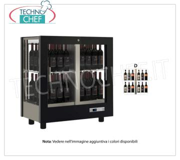 TECA for WINES with FRAME IN WOOD in standard colors, capacity 64 bottles DIAGRAM D TECA for WINES with FRAME IN WOOD in standard colors, with GLASSES ON ALL SIDES, cap.64 bottles DIAGRAM D, VENTILATED refrigeration, temp. + 6 ° / + 16 ° C, for WHITE or RED WINES, doors on 2 fronts, V.230 / 1, Kw.0.40, Weight 77 Kg, dim.mm.860x520x935h