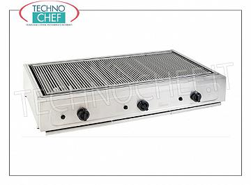TECHNOCHEF - PROFESSIONAL GAS GRILL for counter, with 3 COOKING ZONES, mod. BIG1200GG PROFESSIONAL GAS GRILL for counter use, with 3 RADIANT COOKING ZONES mm.360x530, INDEPENDENT CONTROLS, thermal power Kw.21,00, weight 56 Kg, dim.mm.1180x700x220h