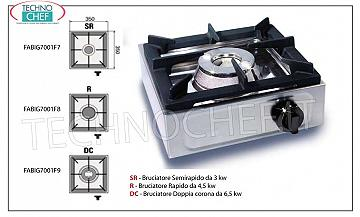 professional gas stove, 1 fire TABLE GAS STOVE with 1 PROFESSIONAL STAINLESS STEEL FIRE, working with universal gas, dimensions 350x350x170h mm, made in 3 VERSIONS with THERMAL POWER from 3 to 6.5 kw, COMPLETE RANGE