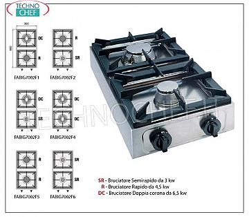 professional table gas stove, 2 burners TABLE GAS STOVE with 2 PROFESSIONAL STAINLESS STEEL BURNERS, working with universal gas, dimensions 350x660x170h mm, made in 6 VERSIONS with THERMAL POWER from 6 to 13 kw, COMPLETE RANGE