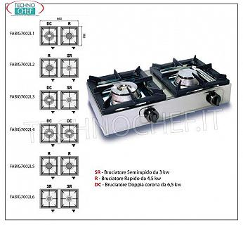 professional table gas stove, 2 burners TABLE GAS STOVE with 2 PROFESSIONAL STAINLESS STEEL BURNERS operating on universal gas, with 1 DOUBLE CROWN BURNER of 6.50 kw and 1 QUICK BURNER from 4.50 kW, dimensions 660x350x170h