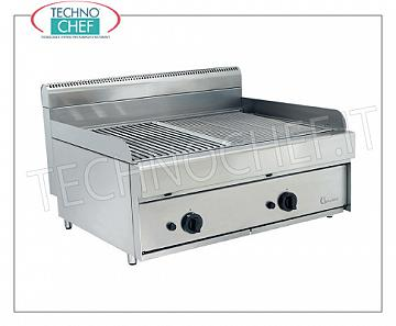 TECHNOCHEF - PROFESSIONAL GAS GRILL for counter, with 2 COOKING ZONES, mod. BIG700GG2CP PROFESSIONAL GAS GRILL for counter, with 2 x RADIANT COOKING ZONES mm.360x530, INDEPENDENT CONTROLS, thermal power Kw 14.00, weight 51 Kg, dim.mm.800x700x500h
