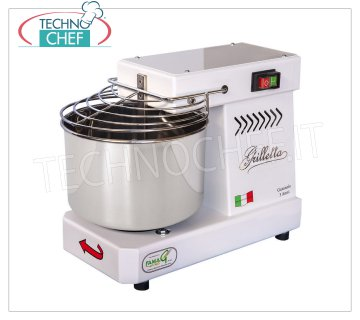 FAMAG - Grill, 5 kg Professional Spiral Dough Mixer FAMAG GRILLETTA spiral mixer with 7 liter head and fixed bowl, mixing capacity 5 Kg, V 230/1, kW 0,35, Weight 27 Kg, dim. mm 450x250x350h