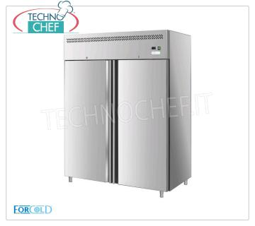 Forcold - 2-door Freezer cabinet, lt. 1300, Temp.-18 ° / -22 ° C, Ventilated, Class E, model G-GN1410BT-FC 2 doors fridge / freezer cabinet, Professional, stainless steel structure, lt. 1300, Temp.-18 ° / -22 ° C, EC-CLASS in Class E, Gas R290, Ventilated, Gastronorm 2/1, V.230 / 1, Kw.0,815, Weight 196 Kg, dim.mm.1480x830x2010h.