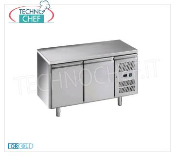Forcold - 2 Doors Refrigerated Fridge Table, Temp. -2 ° / + 8 ° C, lt. 282, Ventilated, Mod.GN2100TN-FC 2 Doors Refrigerated Table, Professional, capacity lt. 282, temperature -2 ° / + 8 ° C, ventilated refrigeration, Gastronorm 1/1, ECOLOGICAL in Class C, Gas R600a, V.230 / 1, Kw.0,275, Weight 92 Kg, dim.mm.1360x700x850h
