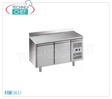 Forcold - Refrigerated Table 2 Doors with Upstand, lt. 282, Temp. -18 ° / -22 ° C, Mod.G-GN2200BT-FC Freezer Table Freezer with Upstand, Professional, capacity 282 lt, temperature -18 ° / -22 ° C, Gastronorm 1/1, ventilated refrigeration, ECOLOGICAL in Class E, Gas R290, V.230 / 1, Kw.0,675, Weight 94 Kg, dim.mm.1360x700x950h