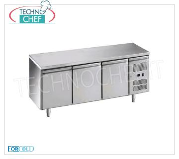 Forcold - 3 Doors Refrigerated Fridge Table, Temp. -2 ° / + 8 ° C, lt. 417, Ventilated, Mod.G-GN3100TN-FC 3 Doors Refrigerated Counter, Professional, capacity lt. 417, temperature -2 ° / + 8 ° C, ventilated refrigeration, Gastronorm 1/1, ECOLOGICAL in Class C, Gas R600a, V.230 / 1, Kw.0,275, Weight 114 Kg, dim.mm.1795x700x850h