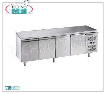 Forcold - 4 Doors Refrigerated Table, lt. 553, Temp.-18 ° / -22 ° C, Ventilated, Mod.G-GN4100BT-FC Freezer 4 Doors Freezer Table, Professional, capacity lt. 553, operating temperature -18 ° / -22 ° C, Gastronorm 1/1, ventilated refrigeration, ECOLOGICAL in Class E, Gas R290, V.230 / 1, Kw. 0,675, Weight 147 Kg, dim.mm.2230x700x850h