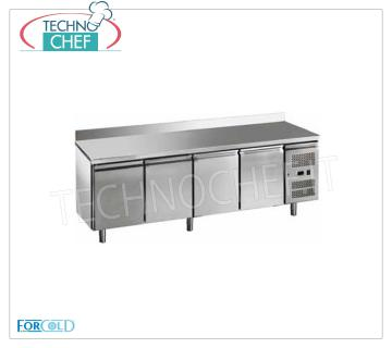 Forcold - Refrigerated Table 4 Doors with Upstand, lt. 553, Temp. -18 ° / -22 ° C, Mod.G-GN4200BT-FC Freezer Table Freezer 4 Doors with Upstand, Professional, capacity 553 lt, temperature -18 ° / -22 ° C, Gastronorm 1/1, ventilated refrigeration, ECOLOGICAL in Class E, Gas R290, V.230 / 1, Kw.0,675 , Weight 147 Kg, dim.mm.2230x700x950h