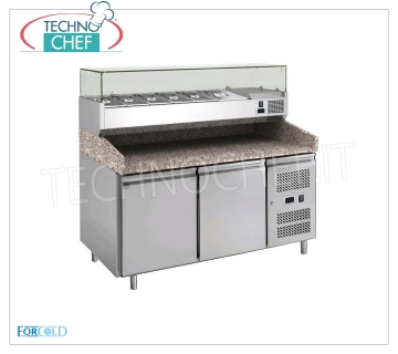 Forcold - 2 DOORS refrigerated pizza counter, with DEEP showcase 330 or 380 mm REFRIGERATED PIZZA COUNTER 2 DOORS, with 330 mm deep refrigerated display case, capacity 7 GN 1/4 containers (265x162 mm), operating temperature + 2 ° / + 8 ° C, Kw.0.275, V.230 / 1, dim. mm.1510x800x1400h