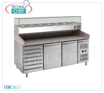 Forcold - 2 DOORS + DRAWER refrigerated pizza counter, with DEEP showcase 330 or 380 mm, Class C REFRIGERATED PIZZA COUNTER with 2 DOORS, temp. + 2 ° / + 8 ° C, complete with cooling unit, GRANITE top, with 33 cm deep refrigerated display cabinet, KW 0.24, v 230/1, dim. mm. 2020x800x1435h