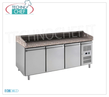 REFRIGERATED PIZZA COUNTER 3 DOORS, FORCOLD brand REFRIGERATED PIZZA COUNTER with 3 DOORS, FORCOLD brand, granite top with upstand on 3 sides, operating temperature + 2 / + 8 ° C, V.230 / 1, V 230/1, Kw 0.235, Weight 300 Kg, dim .mm.2020x800x1000h.