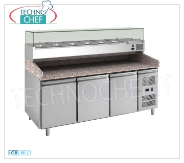 3 DOOR refrigerated pizza counter, with DEEP 330 or 380 mm display case, FORCOLD brand REFRIGERATED 3-DOOR PIZZA BENCH, FORCOLD Brand, with 330 mm deep refrigerated display case, capacity 10 GN 1/4 (mm 265x162), operating temperature + 2 ° / + 8 ° C, Kw.0,235, V.230 / 1 , dim.mm.2020x800x1400h