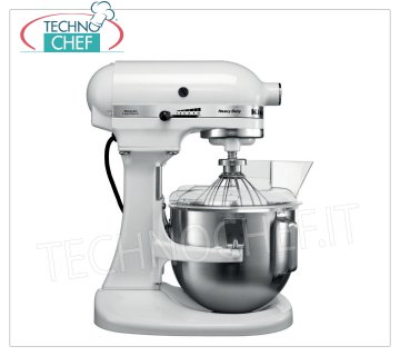KITCHENAID - Professional Planetary, 4.8 lt tank - HEAVY DUTY Food processor, White, Mod. K5 KITCHENAID planetary mixer, Liena HEAVY DUTY, WHITE color, with removable 4.83 liter tank, V 230/1, kW 0.315, Weight 12.5 Kg, dim. mm 390x290x420h