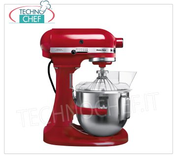KITCHENAID - Professional Planetary, 4.8 lt tub, HEAVY DUTY Food processor, Red, Mod. K5 KITCHENAID planetary mixer, HEAVY DUTY line, RED color, with removable 4.83 liter tank, V 230/1, kW 0.315, Weight 12.5 Kg, dim.mm.390x290x420h