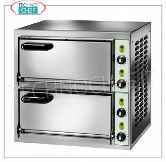 Technochef - 2-chamber electric pizza oven, mod. MICRO2C MONOBLOCK electric pizza oven with 405x405x110h mm ROOMS, stainless steel front, available in single-phase or three-phase, 4.4 kW, dim. external 555x460x530h mm