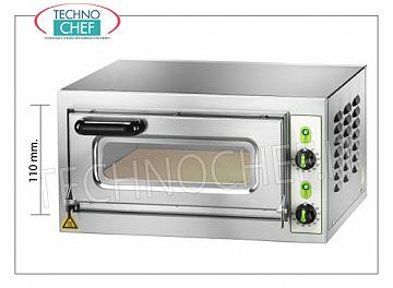 Technoche - Electric pizza oven, 1 chamber, mod. MICROV1C ELECTRIC PIZZA OVEN with 1 CAMERA mm.405x405x110h, version with GLASS DOOR, hob in the refrigerator, 2 ADJUSTABLE THERMOSTATS for SOLE and SKY, temperature from + 50 ° to +500 ° C, V.230 / 1, Kw. 2.2, Weight 27 Kg, outside dimensions mm.555x460x290h