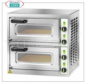 Technochef - 2-chamber electric pizza oven, mod. MICROV2C ELECTRIC PIZZA OVEN with 2 INDEPENDENT BEDROOMS of mm.405x405x110h, version with GLASS DOORS, hob in the refrigerator, 4 ADJUSTABLE THERMOSTATS for SOLE and CIELO, V.230 / 1-400 / 3 + N, Kw.4.4, Weight 54 Kg, outside dimensions mm.555x460x530h
