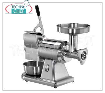FIMAR - Technochef, Meat Grinder 'Grater' 'Type 12' ', Professional, Mod.12 / AT Combined Meat mincer / Grater Type 12 in polished aluminum with hopper and stainless steel containers, Stainless steel mincer unit TOTALLY REMOVABLE, V. 400/3 + N, Kw 0.75, dim. mm 580x350x520h