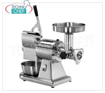 FIMAR - Technochef, Meat Grinder-Grater '' Type 12 '', Professional, Mod.12 / T Combined Meat Grinder / Grater Type 12, in polished aluminum, extractable cast iron meat grinding unit, HOURLY PRODUCTION: MEAT MINCER 160 kg / h, GRATER 40 kg / h, V 380/3, Kw 0.75, dim. mm 670x300x510h