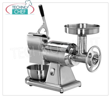 FIMAR - Technochef, Grinder-Grater '' Type 22 '', Professional, Mod.22 / AE Combined MEAT GRINDER 'TYPE 22' in Polished Aluminum, Production: MEAT CUTTERS 300 Kg / h, GRATER 40 Kg / h, with MEAT GROUP MILLING TOTALLY REMOVABLE, V. 380/3 + N, Kw 1.1, dimensions mm 630x350x520h