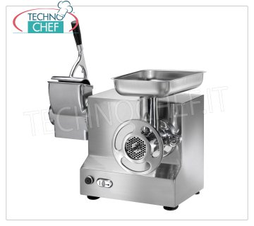 FIMAR - Technochef, Grinder-Grater '' Type 22 '' Careed, Professional, Mod.22 / AT Combined MEAT GRINDER 'TYPE 22' in Polished Aluminum, Production: MEAT GRINDER 300 Kg / h, GRATER 40 Kg / h, with MEAT GROUP MILLING CAST IRON TOTALLY DISASSEMBLED, Single-phase or Three-phase - dimensions 450x430x480h