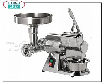 Fimar - Meat Grinder 'Grater' 'Type 8', Semi-professional, Mod.8 / D MEAT GRINDER 'Type 8', in Polished Aluminum, Hourly yield: MEAT GRINDER 50 Kg / h, GRATER 20 Kg / h, V. 230/1, Kw 0.37, dimensions mm 450x320x360h