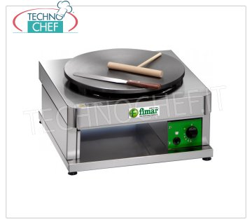 Technochef - Professional Gas Crepe Maker, 1 Cast Iron Plate Ø 400 mm, Mod.CR400G1 GAS TABLET CREPPER with CAST IRON HOB and NON-SLIP MULTI-LINES SURFACE, DIAMETER 400 MM, thermostatic control of the cooking temperature, thermal power Kw. 3,6, Weight 23 Kg, external dimensions mm.430x480x270h