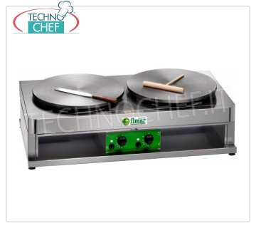 Technochef - Professional Gas Crepe Maker, 2 Cast Iron Plates Ø 400 mm, Mod.CRP400G2 GAS TABLE CREPE with 2 CAST IRON COOKING PLATES and NON-SLIP MULTI-LINE SURFACE, DIAMETER 400 MM, thermostatic control of the cooking temperature, thermal power Kw. 3,6 + 3,6, Weight 46 Kg, external dimensions mm.900x480x270h