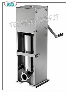 Technochef - Manual sausage fillers for SALUMI, VERTICAL from lt 7 and 14, 2 SPEEDS Stainless steel table sausage filler, manual with vertical cylinder, 2 speeds, 7 liters capacity, supplied with 4 ABS funnels, diameter 15-23-29-38 mm, dim. mm 400x450x1050h
