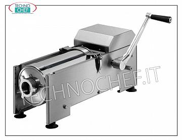 Technochef - Manual sausage filler, horizontal from 7 and 14 lt, 2 speeds Manual stainless steel sausage filler for table, manual with horizontal cylinder, capacity 7 liters, supplied with 4 ABS funnels diameter 15-23-29-38 mm, dim. mm 1200x400x400h