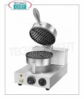 WAFFLE MACHINE with Teflon-coated COOKING PLATE Ø 185 mm Waffle machine in stainless steel with Teflon-coated cooking plate diameter 185 mm, V 230/1, Kw 1.00, dim. Mm. 255x435x255 / 570h