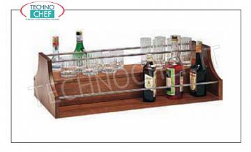 Wooden Service Trolleys Exhibitor for spirits with wood color NOCE and railing in stainless steel, dim.mm.880x460x370h