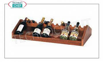 Wooden service trolleys Exhibitor for wine bottles with wooden frame NOCE, dim.mm.880x460x190h