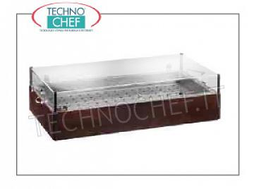 Wooden service trolleys WENGE 'wood-colored glacier display, equipped with 8 eutectic containers, stainless steel tub and grill, plexiglass dome, dim.mm.900x485x230h