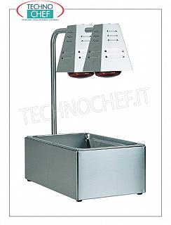 Scuttle / Condiments Table tops with GN 1/1 tub, complete with 2 infrared lamps from W.250 each, V.230 / 1, Kw.0,5, dim.mm.600x330x680h