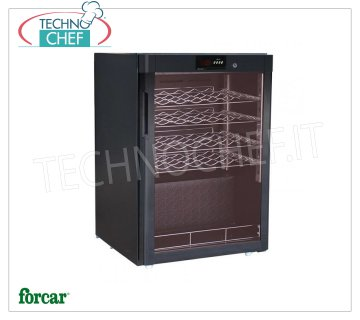Forcar - STATIC REFRIGERATED WINE CELLAR for 24 bottles, TEMP. + 5 ° / + 18 ° C, Mod.BJ118 Refrigerated wine cellar, 1 glass door, capacity 24 bottles, temperature + 5 ° / + 18 ° C, static refrigeration, LED lighting, V.230 / 1, Kw.0,077, Weight 46 Kg, dim.mm.600x603x860h