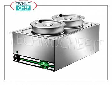 Chafing dish / Warmers Electric oven bain-marie, capacity 1 GN 1/1 basin with 2 indipendent lt.8 + 8 pots, complete with lid, adjustable temperature from + 30 ° to + 90 ° C, V.230 / 1, Kw.1, 2, dim.mm.570x370x280h