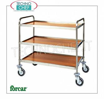 Service trolleys in stainless steel Service trolley in stainless steel, brand FORCAR, with 3 floors in WALNUT or WALNUT melamine and stainless steel frame, COMPLETE RANGE