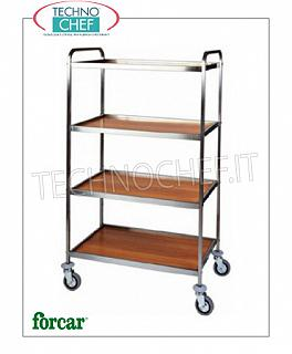 Service trolleys in stainless steel Service trolley in stainless steel, brand FORCAR, with 4 shelves in WALNUT melamine and stainless steel perimeter frame, COMPLETE RANGE
