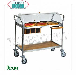 Trolleys for desserts and cheeses Trolley for sweets, cheeses and appetizers in stainless steel, FORCAR brand, complete with semi-circular plexiglass dome, 2 wooden shelves in NOCE or WENGE 'colors, optional available: plate cymbal, cutlery drawer, etc., COMPLETE RANGE