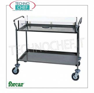 Trolleys for desserts and cheeses Trolley for sweets, cheeses and appetizers in stainless steel, FORCAR brand, with 2 or 3 floors and dome in plexiglass, COMPLETE RANGE