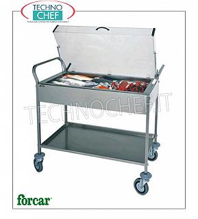 Refrigerated display stands Refrigerated trolley for cakes, cheeses and appetizers in stainless steel, brand FORCAR, complete with plexiglass dome, 8 eutectic plates and lower shelf, max. Load 80 Kg, dim.mm.1080x570x1030h