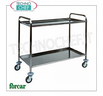Service trolleys in stainless steel Service trolley in stainless steel, brand FORCAR, with 2 folded tops, max. Load 80 Kg, COMPLETE RANGE