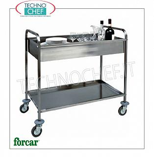 Stainless steel scraping trolleys Stainless steel trolley, FORCAR brand, with soundproof upper tank and folded lower shelf, max capacity 80 Kg, dim.mm.1010x570x970h