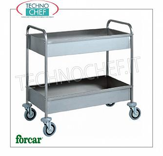 Stainless steel scraping trolleys Stainless steel trolley, FORCAR brand, with 2 soundproof tanks, h 150 mm, max capacity 80 Kg, dim.mm.1010x570x970h